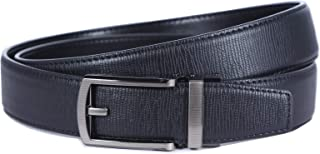Mens Belt, Slide Buckle Belt for Men with Automatic Ratchet and Genuine Leather, Micro-Adjust and Trim to Fit, SOLOFOX