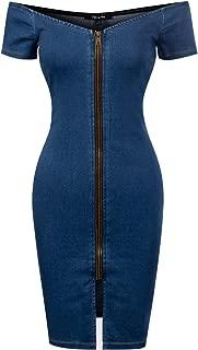 Design by Olivia Women's Spaghetti Strap Front Button Closure Denim Bodycon Dress