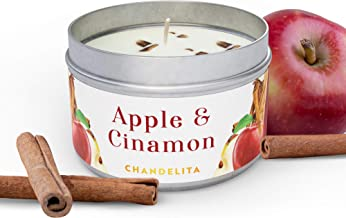 Chandelita Cinnamon and Apple Scented Candle with Chunks to Stimulate Your Mind, Improve the Mood, Assist Focus and As Nat...