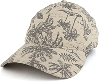 Armycrew Unlimited Tropical Floral Printed Polo Style Adjustable Unstructured Baseball Cap - Stone
