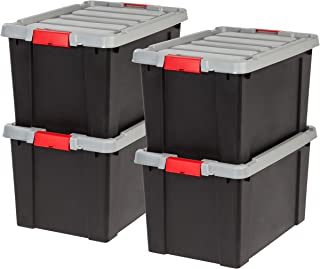 IRIS 19 Gallon Store-it-All Heavy Duty Stackable Utility Tote, Black with Red Buckle
