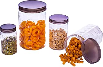 Homemet Plastic Pet Kitchen Storage Jars & Container Set 350 ml 1 pic + 650 ml 1 pic + 1200 ml 1 pic and 2000 ml 1 pic Transparent Storage containers, Storage containers for Kitchen Set of 4