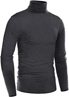 Mens Thermal Mock Turtleneck Long Sleeve T Shirt Knitted...