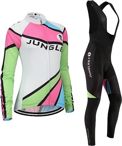JNL Maillot de Cyclisme Femme Manches Longues Jersey(S5XL,Option Cuissard,3D Coussin) N206