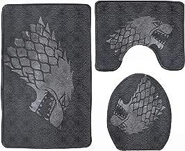 3-Piece Bath Mat Set House Stark Game of Thrones Bath Rug Set Soft Non Slip Bathroom Rugs for Kitchen Shower and Toilet
