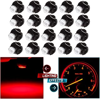 cciyu 20 Pack 2835 SMD T3 Neo Wedge 1 LED A/C Climate Control Lights Bulb New 8mm Replacement fit for 1999-2010 Honda Accord/Odyssey (red)