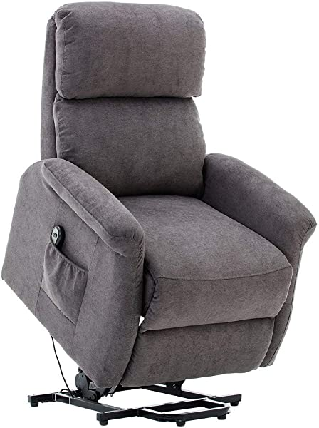 BONZY Lift Recliner Classic Power Lift Chair Soft And Warm Fabric With Remote Control For Gentle Motor Gray