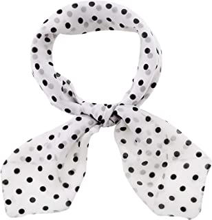 1950s Chiffon Scarf Polka Dot Retro Hair Tie 50s Sheer Square Neck Head Scarf Vintage Neckerchief for Women Girls