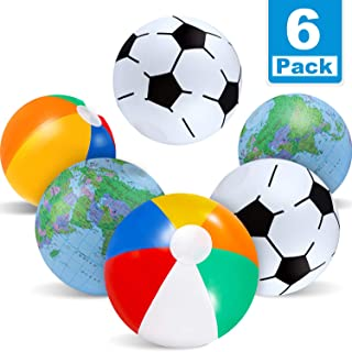 Zonon 12 Inch 6 Pack Inflatable Beach Balls- Include 2 Pieces Rainbow Beach Balls, 2 Pieces Inflatable World Globe Beach Ball, 2 Pieces Football Beach Balls,Pool Party Favors for Toddlers Boys Girls