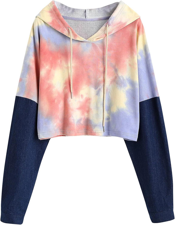 UOCUFY Hoodies for Women, Womens Tops Casual Long Sleeve Letter Print Pullover Sweatshirt Loose Drawstring Crop Hoodie