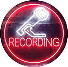 Studio Recording Microphone Dual Color LED Neon Sign White & Red 400 x 300mm st6s43-i3555-wr