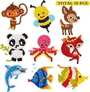 5D DIY 18 PCS Diamond Painting Stickers Kits for Kids and Adult Beginners, Stick Paint with Diamonds by Numbers Easy to DI...