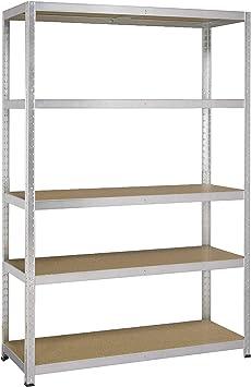 Avasco 175 Strong - Estantería (carga pesada, metal y madera, 5 baldas, 176 x 120 x 40 cm), color claro