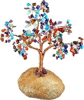 mookaitedecor Colorful Crystal Tree Tumbled Stones, Pebble Base Money Tree Reiki Healing Crystals Feng Shui Home Decor 7