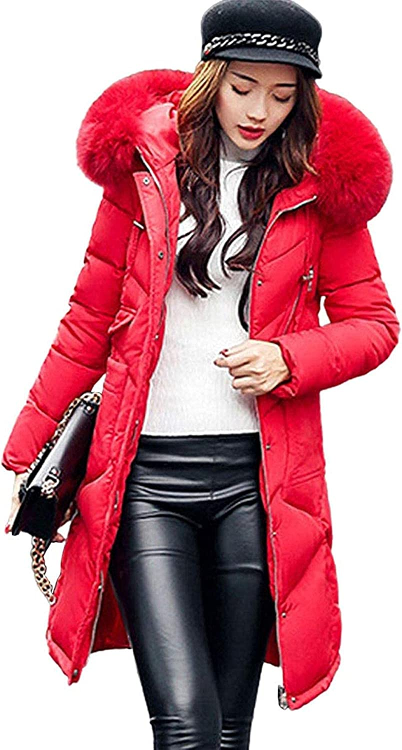 Women's Down Alternative Mid-Length Puffer Jacket Padded Coat with Faux Fur Hood