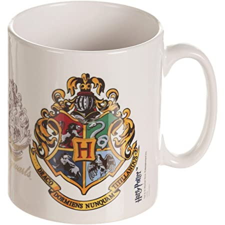 Amazon Com Harry Potter Hogwarts Crest Ceramic Mug White Kitchen Dining