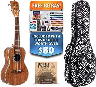 Ripple Koa Concert Left-Handed Ukulele (15-FREE-Bonuses) Compression Sponge Case, Aquila Strings, Felt Picks, Tuner, Chord Stamp, Chord Chart, Leather Strap, Live Lesson & More (Limited Time)