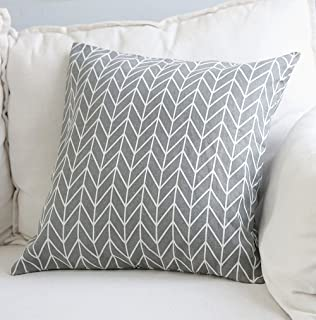 Aimeer 24 X 24 Inch Home Decorative Sofa/Bed Throw Pillow Cushion Cover with Invisible Zipper,Gray Large Linen Pillow Case