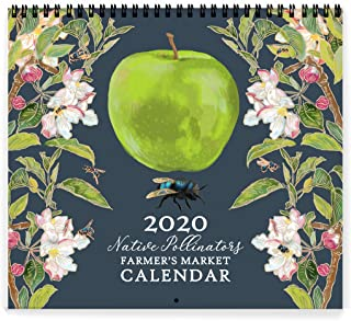Rigel Stuhmiller 2020 Seasonal Farmer's Market Native Pollinators Grid Wall Calendar