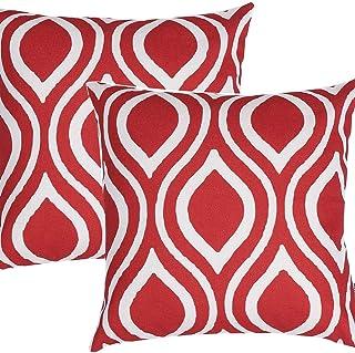 Yaosh Lin czerwona poszewka geometryczna poduszka sofa dekoracja pokoju 18 x 18 cali, 45 x 45 cm, Rouge 1