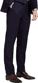 Dobell Mens Navy Suit Pants Tailored Fit Chalk Stripe