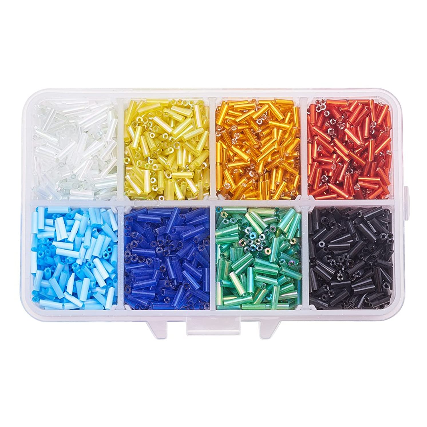 Pandahall 8 Colors Lined Glass Bugle Seed Beads 6x1.8mm Tube Loose Spacer Beads Hole: 0.6mm for DIY Jewelry Making (About 3500pcs/box)