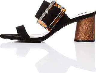 Amazon Brand - find. Women's Large Buckle Block Heel Sandal