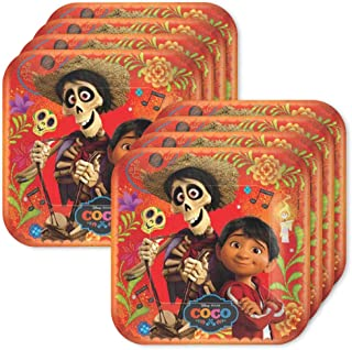 BirthdayExpress Coco Party Supplies Square Lunch Plates for 24