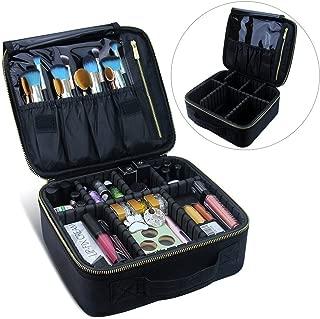 Samtour Makeup Case Travel Makeup Bag Makeup Train Case Cosmetic Bag Toiletry Makeup Brushes Organizer Portable Travel Storage Bag (Black)
