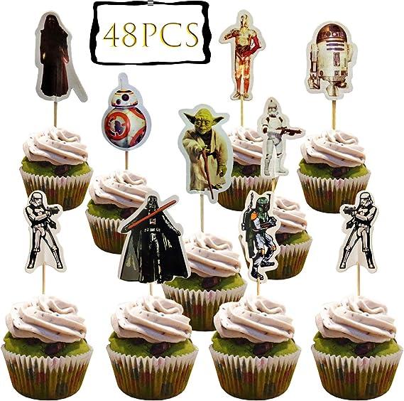 48PCS star wars cupcake Topper Decorative Supplies Cupcake Toppers Cake Picks Decorations for Kids Birthday
