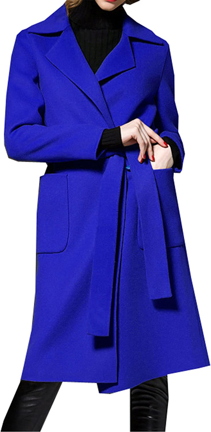 Allonly Women's Solid color Woolen Trench Coat Mid Length with Tie Waist