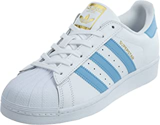 adidas Youth Superstar Foundation White Blue Leather Trainers 7 US