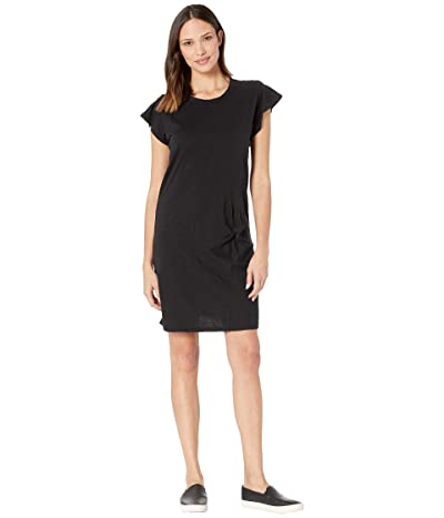 Mod-o-doc Flutter Sleeve Asymmetrical Twist Front Dress in Slub Jersey (Black) Women