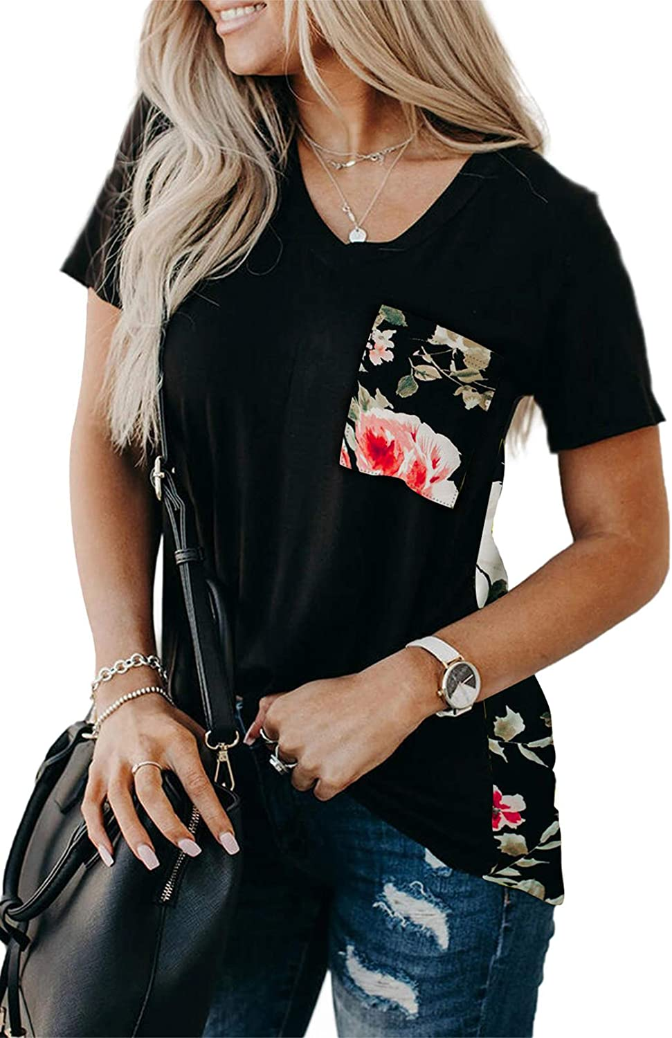 LOSRLY Womens V Neck Short Sleeve Shirts Tie Dye Leopard Summer T Shirts Casual Tunic Blouses and Top