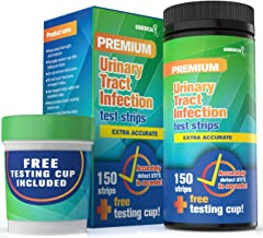Urinary Tract Infection (UTI) Test Kit  150 strips and a FREE TESTING CUP  FDA APPROVED  Detailed Instructions  Fastest in the Market  Test for Leukocytes, Nitrite and pH from the comfort of your home