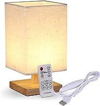 KWOKWEI Tafellamp met afstandsbediening, nachtlampje, dimbaar, van hout en linnen, USB-bureaulamp met tijdsinstelling, vie...