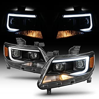 ACANII - For Black 2015-2019 Chevy Colorado LED Tube DRL Dual Projector Headlights Headlamps Driver + Passenger Side