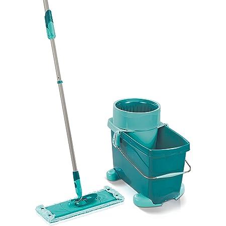 Leifheit Set Clean Twist XL Mobile, kit de nettoyage avec chariot à roulettes, seau et balai essoreur, balai à plat lave-sol doux pour sols délicats
