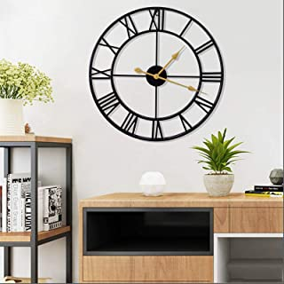 Large Metal Wall Clock, 15.7 Inch Thicken & Heavy Round European Industrial Clock with Large Roman Numerals,Non-Ticking Si...