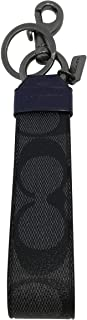 Coach Large Loop Key FOB in Signature Canvas Black F79882