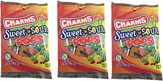 Charms Sweet & Sour Pops | Fruity Sucker | 3.85 Ounce Bag | Pack Of 3