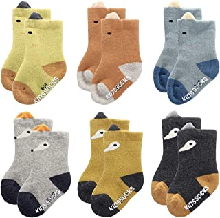 Baby Boys Girls Thick Warm Anti Slip Terry Socks - Infant Toddler Winter Cute Cotton Socks 3-36 Months Gifts Set 6 Pairs Pack