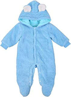 Infant Baby Girl Boy Fleece Jumpsuit Winter Footed Outerwear Hoodie Button Snowsuit Pram Coverall Warm Coats