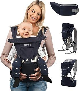 Sweety Fox - Multiposition bärsele med höftsits - för spädbarn och barn från 3 månader till 3 år - bomull och nät andnings...