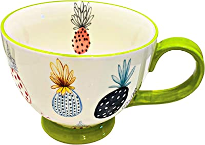 Potter's Studio Footed Ceramic Gift Mug Featuring Colorful Tropical Pineapples with Lime Green Trim