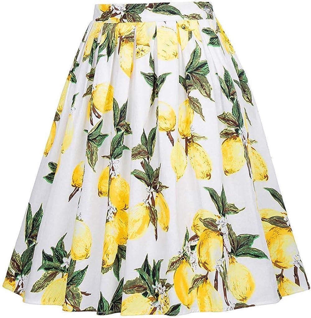 FONMA Women's Fashion Skirt Retro Casual Tutu Waist Skirt Half-Length Print Skirt