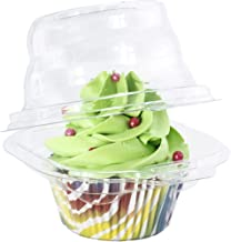 Katgely Individual Cupcake Container - Single Compartment Cupcake Carrier Holder Box - Stackable - Deep Dome - Clear Plast...