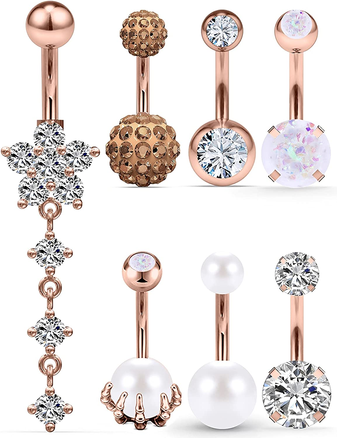 Hnxnskt 14G Belly Button Rings Surgical Stainless Steel Belly Rings 10mm Curved Barbarll Dangle Navel Piercing Jewelry for Women