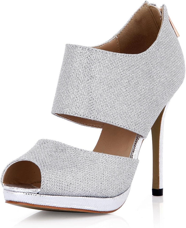 KUKIE Best 4U Frauen Sommer Sandalen Bling Pailletten Peep Toe 12 cm High Heels Gummisohle Reiverschluss Pumpen Schuhe Splitter