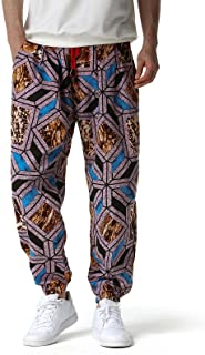 Mens Cotton 3D Printed Tracksuit Bottoms Elasticated Waist Hippie Bloomers Cargo Trousers Lounge Pants Beach Walking Runni...